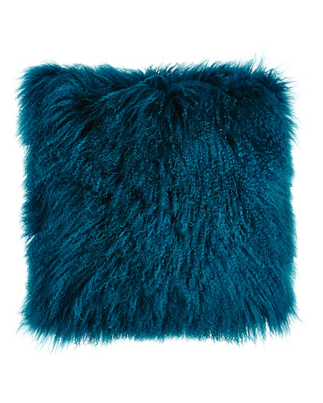 Teal Tibetan Lamb Pillow, 26
