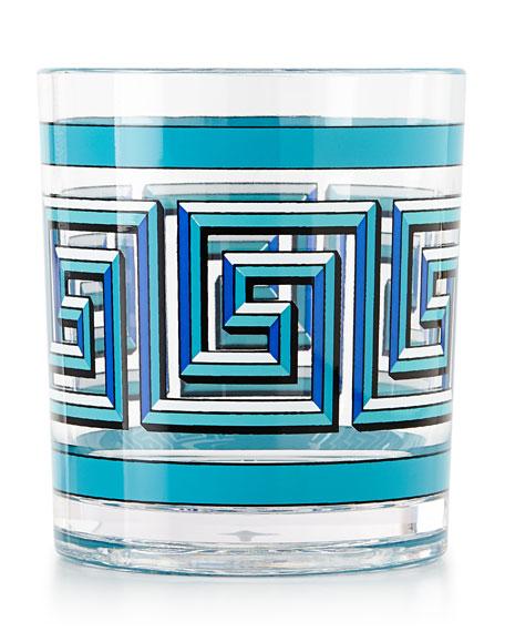 Blue Mykonos Acrylic Rocks Glass