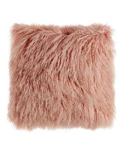Blush Tibetan Lamb Pillow  26Sq.