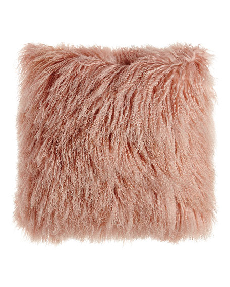 "Blush Tibetan Lamb Pillow, 26""Sq."