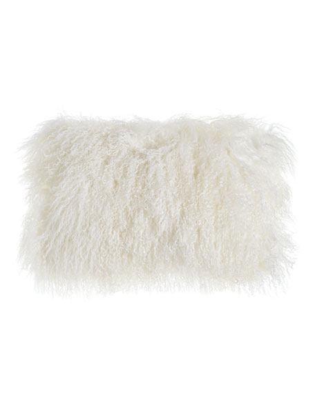 "White Tibetan Lamb Pillow, 20"" x 12"""