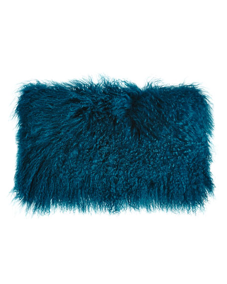 Teal Tibetan Lamb Pillow, 20