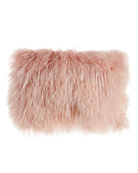 "Blush Tibetan Lamb Pillow, 20"" x 12"""