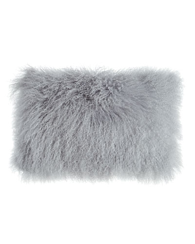 Fog Gray Tibetan Lamb Pillow  20 x 12