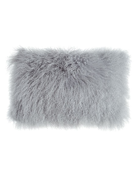 "Fog Gray Tibetan Lamb Pillow, 20"" x 12"""