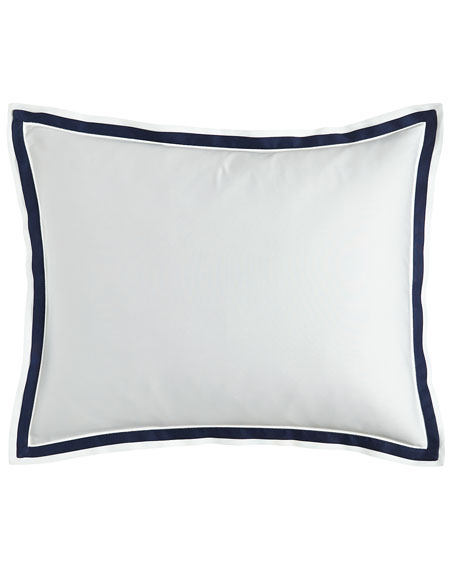 Oxford Border Standard Sham, White/Blue
