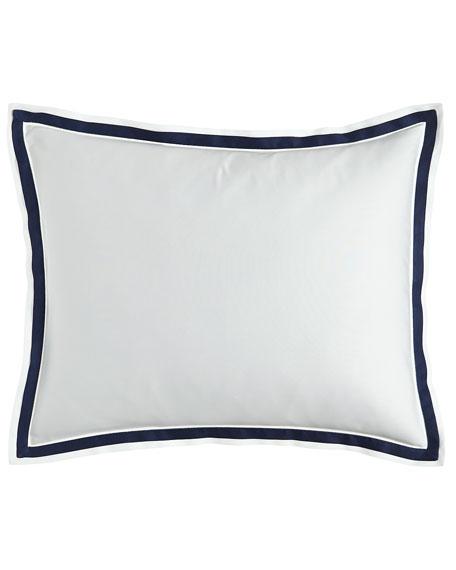 Oxford Border Standard Sham, White/Blue