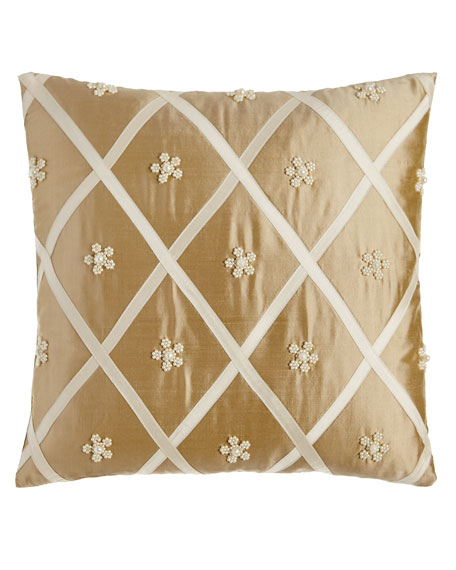 Formality Diamond/Beaded Flower Pillow, 16