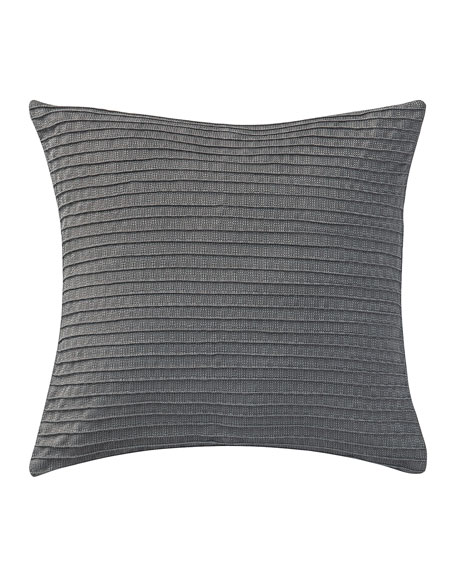 "Pintucked Blossom Pewter Pillow, 16""Sq."