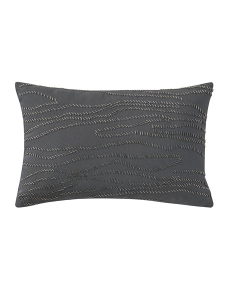 "Beaded Blossom Pewter Pillow, 12"" x 18"""