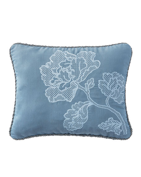 """Reversible Blossom Pewter Pillow, 16"""" x 20"""""""