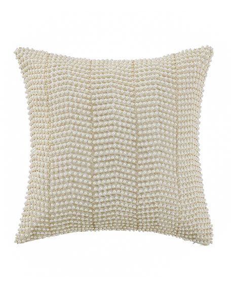 "Britt Beaded Pillow, 14""Sq."