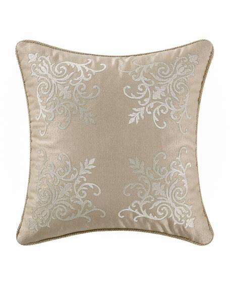 """Britt Damask-Embroidered Pillow, 16""""Sq."""