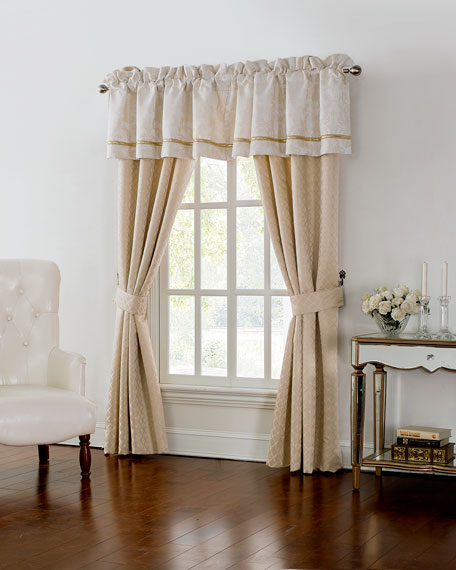 "Two Britt Foulard Curtains, 84""L"