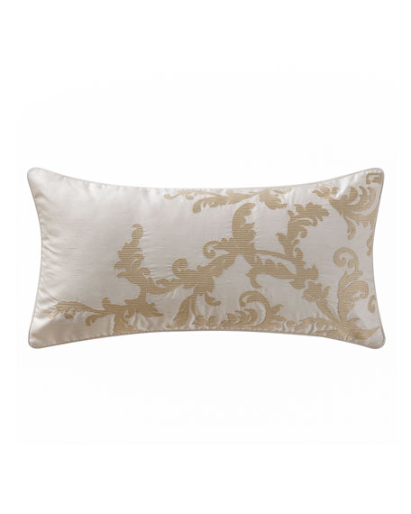 "Chantelle Leaf Embroidered Pillow, 11"" x 22"""