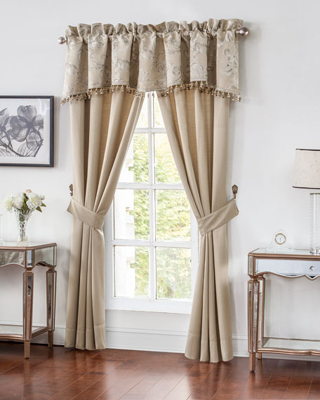 "Two Chantelle Stripe Jacquard Curtains, 84""L"