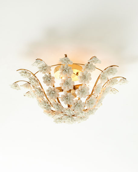 Ceramic Flowers Flush-Mount Light Fixture