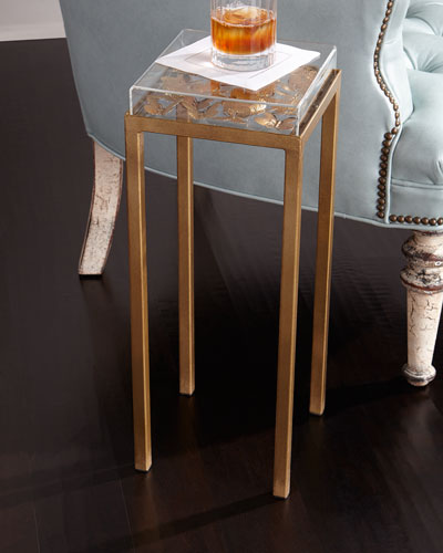 Lucite Top with Floral Side Table