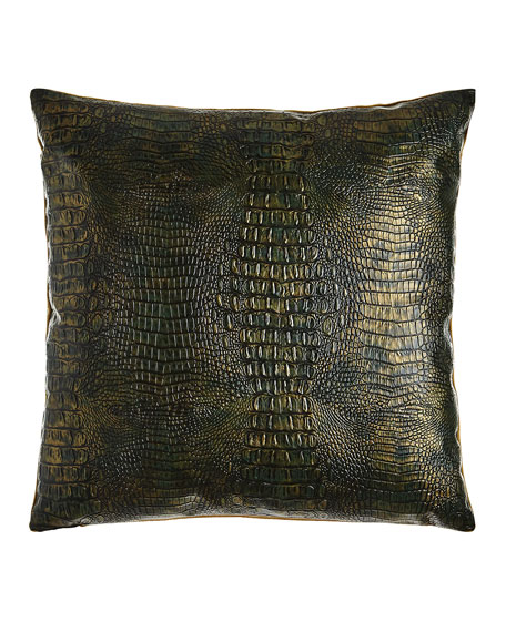 "Gilded Gator Emerald Pillow, 22""Sq."