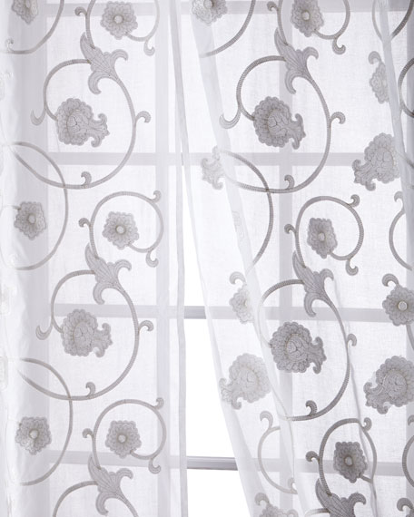 Carnation Cotton Organdy Curtain, 108""