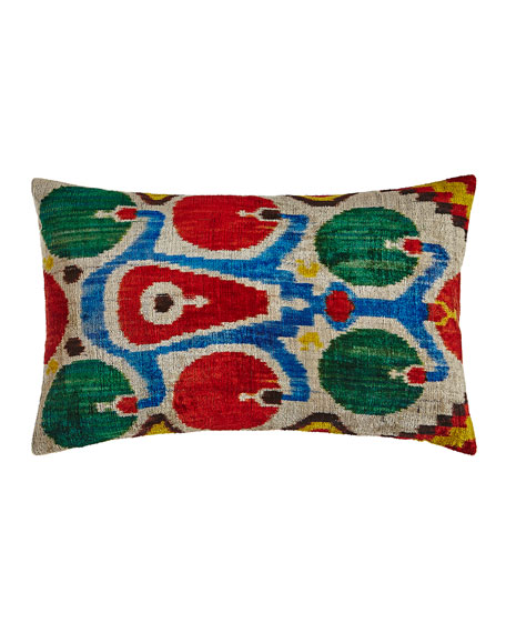 "Red/Green/Blue Silk Velvet Pillow, 24"" x 16"""