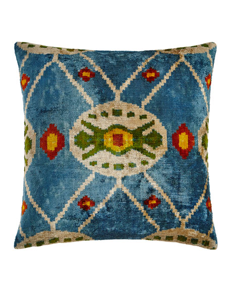 "Blue Print Silk Velvet Pillow, 20""Sq."