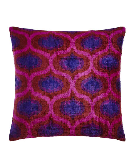 "Pink/Purple Silk Velvet Pillow, 20""Sq."