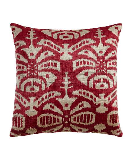 "Pink Ivy Silk Velvet Pillow, 20""Sq."