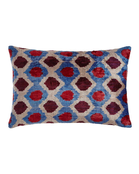 Pink/Blue Silk Velvet Pillow, 24