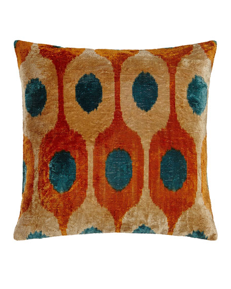 "Orange Silk Velvet Pillow, 20""Sq."