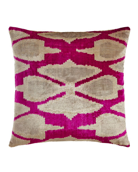 "Pink Print Silk Velvet Pillow, 20""Sq."