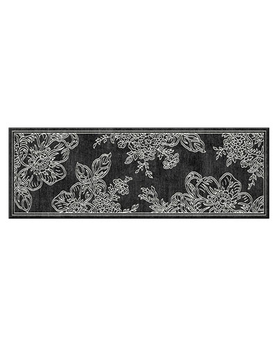 Wild Rose Runner  Black  2'6 x 8'