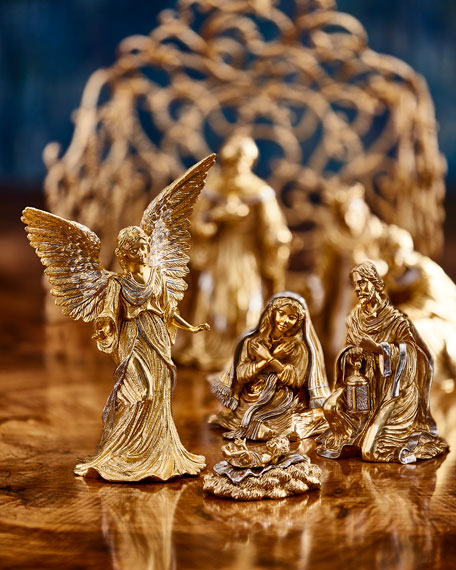 Gilded Nativity Sheep Figurine