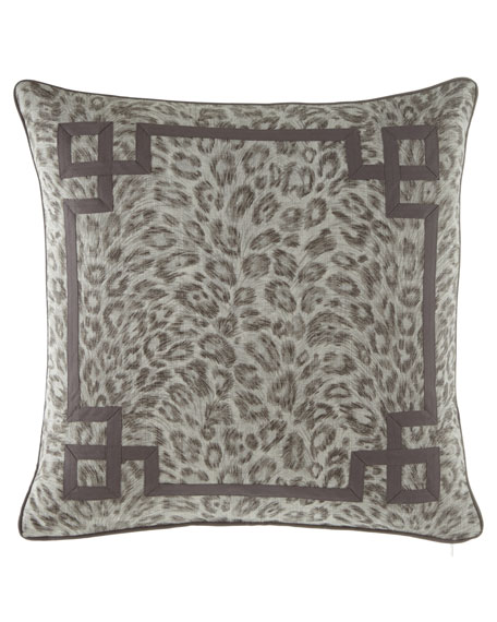 Bally Leopard-Print w/ Fretwork Decorative Pillow