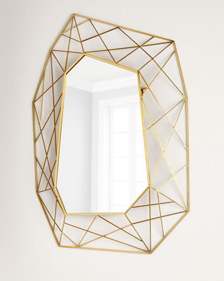 Geometric Mirror with Brass