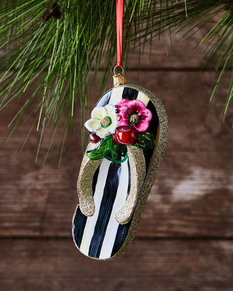St. Tropez Flip Flop Glass Ornament