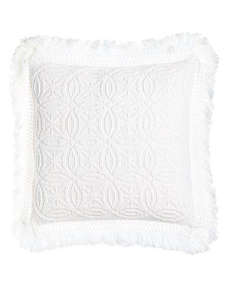 """White Knit Anka Pillow, 20""""Sq."""