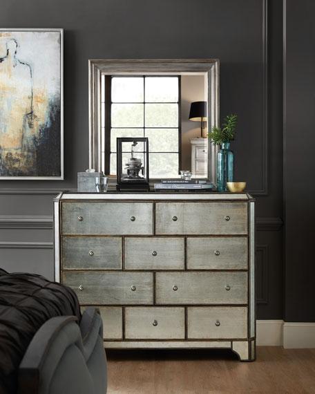 Visage Eglomise Mirrored 10-Drawer Chest