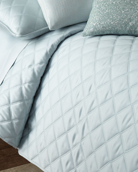 Quilted Silken Solid Full/Queen Coverlet