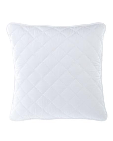 Quilted Silken Solid European Sham, White