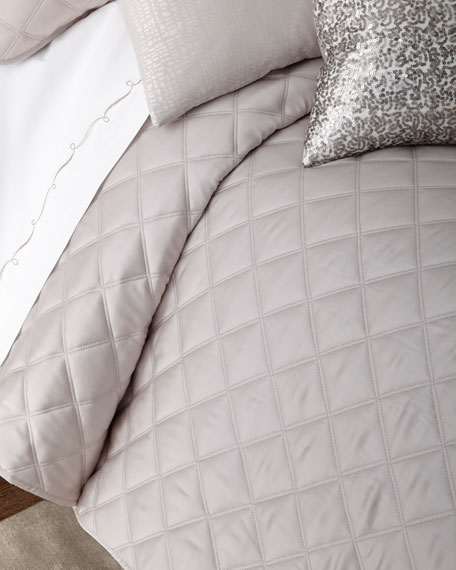 King Quilted Silken Solid Coverlet