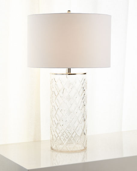 Diamond-Cut Glass Table Lamp