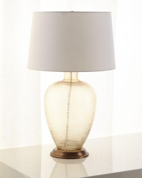 Amber Cut Glass Table Lamp