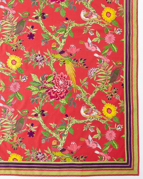 """Bird Coral Tablecloth, 72"""" x 108"""""""