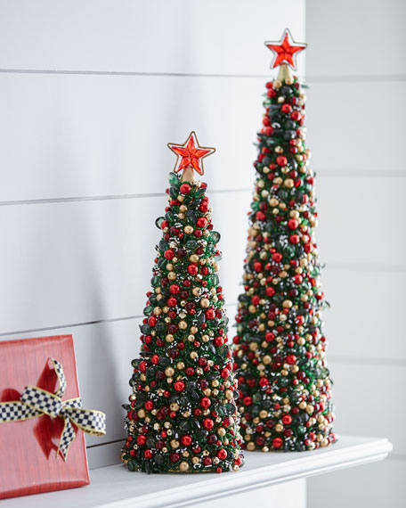 Tartan Frost Beaded Christmas Tree, 18""