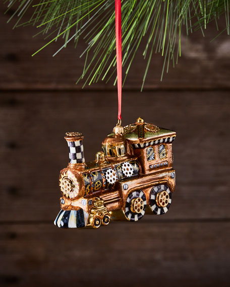 Steampunk Train Glass Ornament