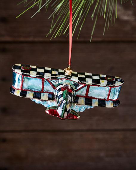 Airplane Glass Ornament
