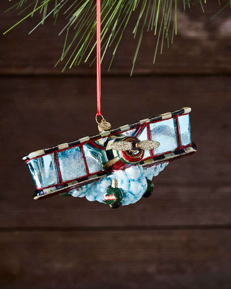 Airplane Glass Ornament