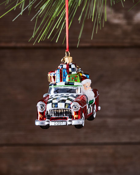 Vacation Santa Glass Ornament