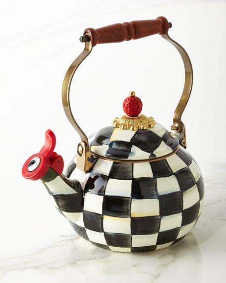 Courtly Check Enamel Whistling Tea Kettle